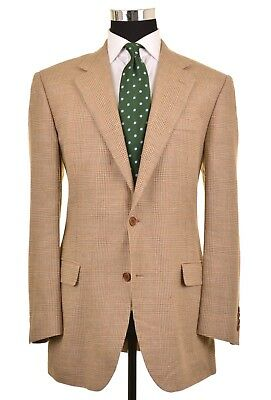 Brooks Brothers ITALY Green Beige Tones WOOL SILK LINEN Sport Coat Jacket 42 L