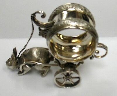Victorian Antique Silverplated Napkin Ring Of A Rabbit Pulling Cart