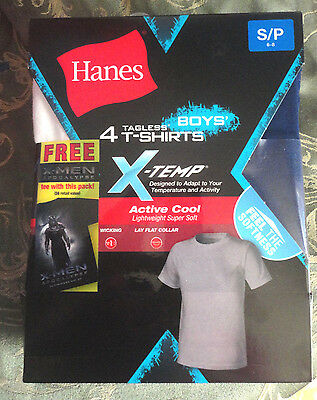 Hanes Boys Tagless 4 T-Shirts X-Temp W/x-Men Apocalypse T-Shirt Sz S/p 6-8
