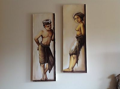 Wall Art Painted Canvas pair Sunshine Coast