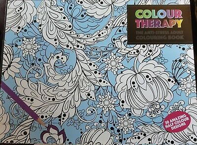 New Colour Therapy Adults A4 20 page Half Coloured Anti-Stress Colouring Book