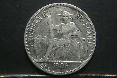 1906 A  French Indo China PIASTRE DE COMMERCE Silver Coin, FRANCAISE FRANCE