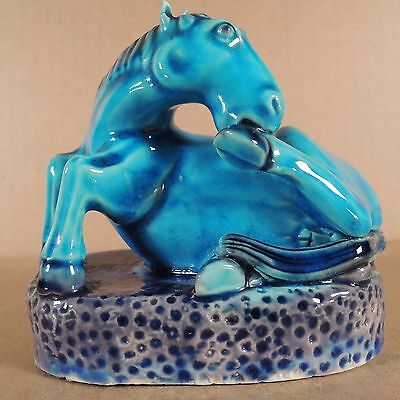 Antique Chinese Porcelain Recumbent Glazed Horse