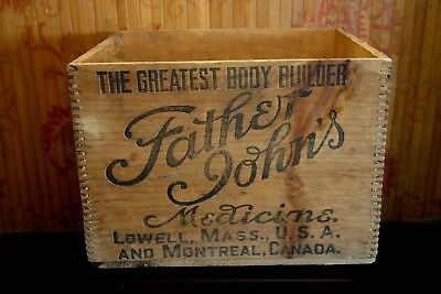Antique Father John's Medicine Wooden Shipping Crate, BEAUTIFUL!!