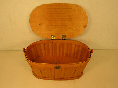 Peterboro Basket Company Wooden Basket With Lid Handle Carving & Engraving