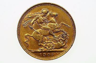 1905 Melbourne Mint Gold Full Sovereign in Very Fine Condition