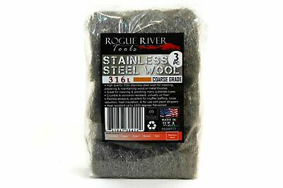 (3pc) Rogue River Tools Stainless Steel Wool Pads 316L - 3 Grades to Choose From