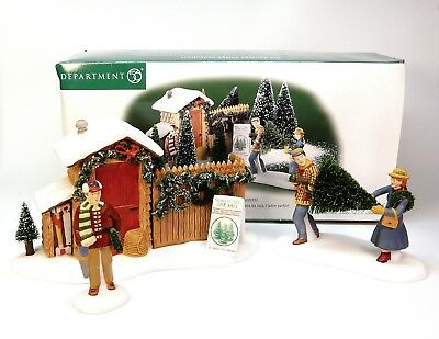 Set of 3 Dept 56 Christmas in the City Village Picking Out the Christmas Tree