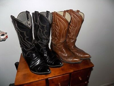 2 Pair Vintage Handmade West Texas Cowboy Boots Very Nice Size 9 D
