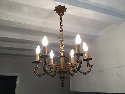 Antique French Gilt Bronze Large Chandelier 6 Arm Ornate Ceiling Light