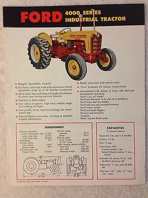 Vintage Ford 4000 series Industrial tractor brochure dealer advertising sales