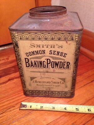 Early 1890s Smiths Baking Powder Tin J Hungerford Smith Rochester New York