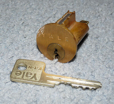 Used Older YALE Rim Cylinder Lock - Dull Brass - 1 Working Key (LOT 655)