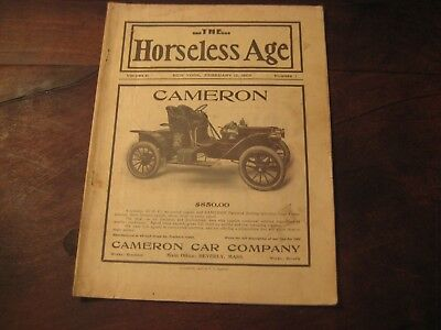 """Vintage 1908 """"the Horseless Age"""" Magazine With Cameron Automobile On The Cover"""