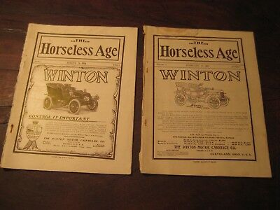 """Two Vintage """"the Horseless Age"""" Magazine With """"the Winton"""" On The Cover"""