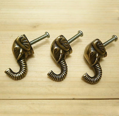 Set of 3 pcs Vintage ELEPHANT HOOK Antique Solid Brass Coat Hat Wall Hooks
