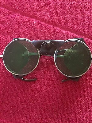 """Vintage""""American Optical"""" Glass Lens Leather Safety TintedGlasses Motorcycle #72"""