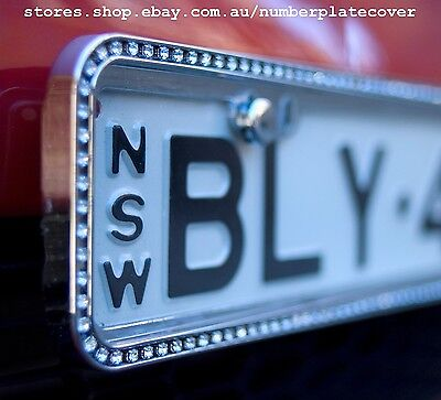 NSW Slimline Chrome Sparkling Crystal Number Plate Cover ( in Pairs )