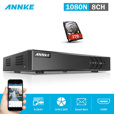 ANNKE 3TB Recorder 8CH 1080P Lite Security DVR H.264+ Smart Search Motion DN81R