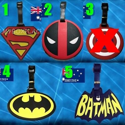 SuperHero Badge Deadpool Batman Silicone PVC Cartoon Travel Luggage Tag School
