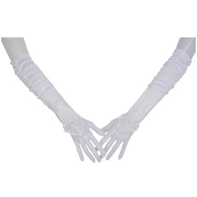15X(14in white wedding bridal lace fingerless gloves PF DP