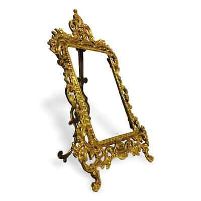 Vintage Victorian Brass Plated Cast Iron Easel Picture Frame 5 x 7