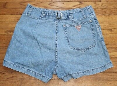 Vintage Womens Guess Jeans Usa Shorts 30 Waist Button Fly Stone Wash Buckle