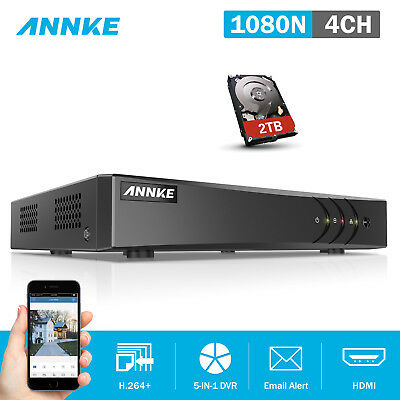 ANNKE 4CH 1080P Lite DVR Smart Search HDMI Security H.264+ 2TB HDD System DN41R