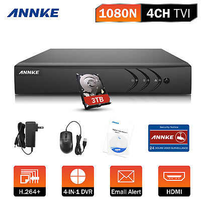ANNKE 3TB HDD 4CH 1080P Lite 4in1 Security CCTV DVR Home H.264+ Video HDMI DN41R