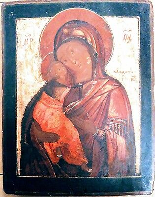 18C Antique Hand Painted Russian Icon Of Vladimirskaya Mother Of God