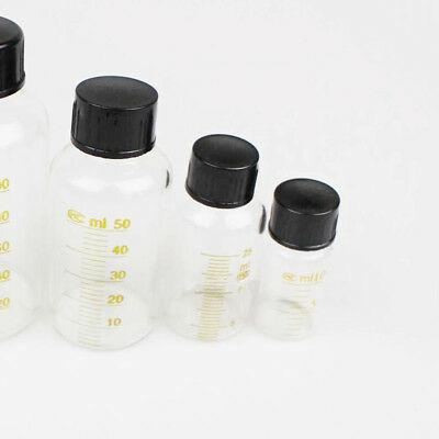 Clear Glass Graduated Sample Bottle Serum Bottle & Screw Cap 10-250mL Labware FZ