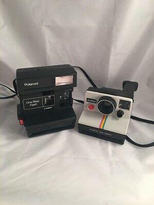 2 Vintage Polaroid Instant Camera Film Antique Old One Step AS IS UNTESTED