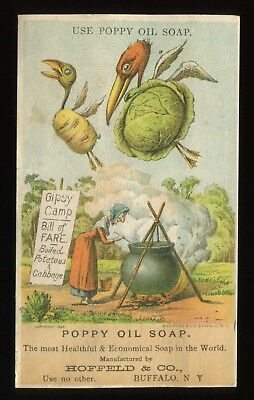 """Lot 47: 1880's Hoffeld Co. Poppy Oil Soap """"Witch brewing"""" Gypsy Camp Trade Card"""