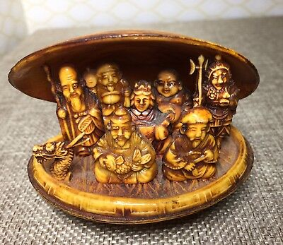 Vintage Asian Japanese Celluloid Clam Shell with 7 Lucky Gods & Dragon Inside