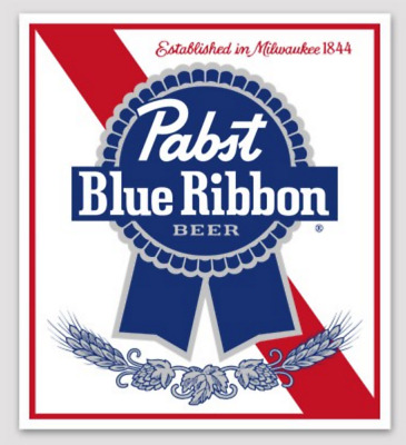 pabst blue ribbon 3.5 inch Sticker white Vinyl laptop Decal