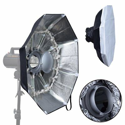 UK 70cm SILVER Foldable Collapsible Beauty Dish Bowens Mount for Studio Flash