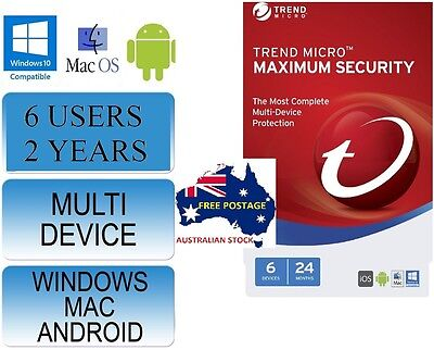 Trend Micro Maximum Security 2017 - 2 Year for 6 Devices LICENCE