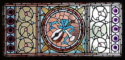 Antique American Stained/Jeweled Glass Window w/Rondels and Music Theme