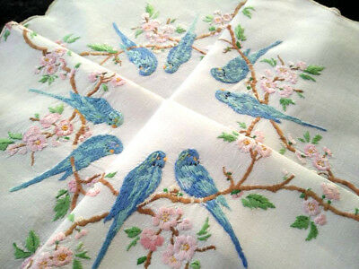 Fabulous Budgies/Budgerigars &Cherry Blossoms Raised Hand Embroidered Tablecloth
