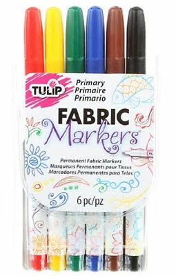 6 Pack TULIP FABRIC MARKERS, Primary Colours, Permanent, Writing, Free Aus Post