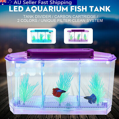 2017 Triple Cube LED Light Betta Aquarium Separate Spawning Box Fish Tank 4L