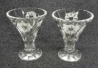 Lead Crystal Bud Vase's x 2 Etched Flower & Cut Stem Design with Scalloped Edge.