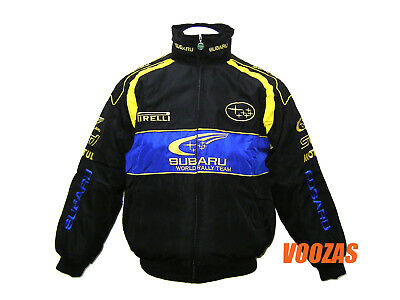 SUBARU RALLY Motor Racing Embroidered Cotton Jacket Black Blue