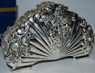 """Royal Doulton Silver Plate Old Country Roses Napkin Holder. 7"""" wide. 4"""" high."""