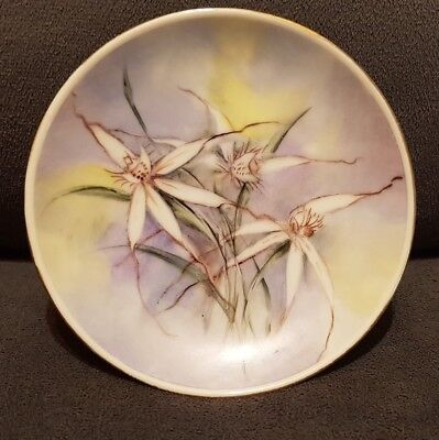 Hand painted Spider Orchids signed pin dish