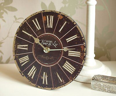 "Wall Clock with Stand - Small 7"" Chic & Shabby Style Kitchen Clock Old Vintage -"