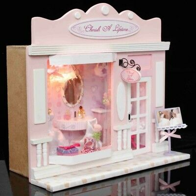 Wood Dollhouse Miniature DIY Dolls LED European Store Furniture Handicraft Gift