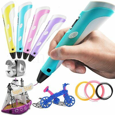 LCD 3D Printing Pen Stereoscopic Drawing Arts Crafts +UK Plug +3 Free Filaments
