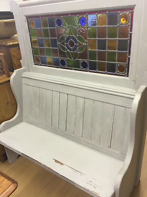 OLD PUB PINE SETTLE WITH STAINED GLASS, 4 Seater High Back,  6ft