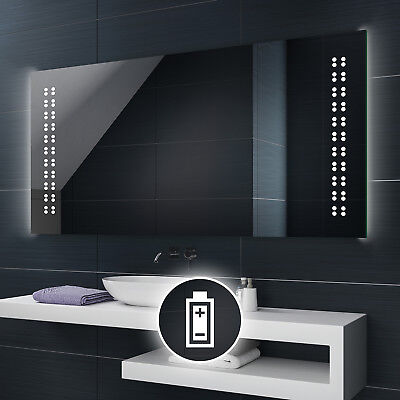 Battery Powered LED Illuminated Bathroom Mirror Battery Operated Custom Size L55